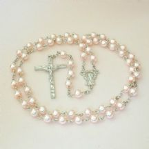 Rosary Beads for A Girl, Pale Pink Pearls